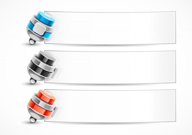 Bannières blanches avec des stylos Vecteur Premium