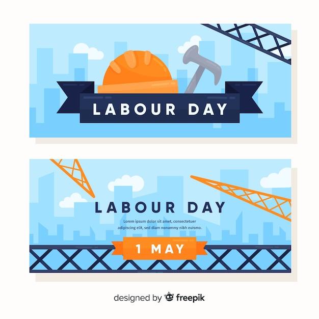 Bannières de bonne fête du travail Vecteur gratuit
