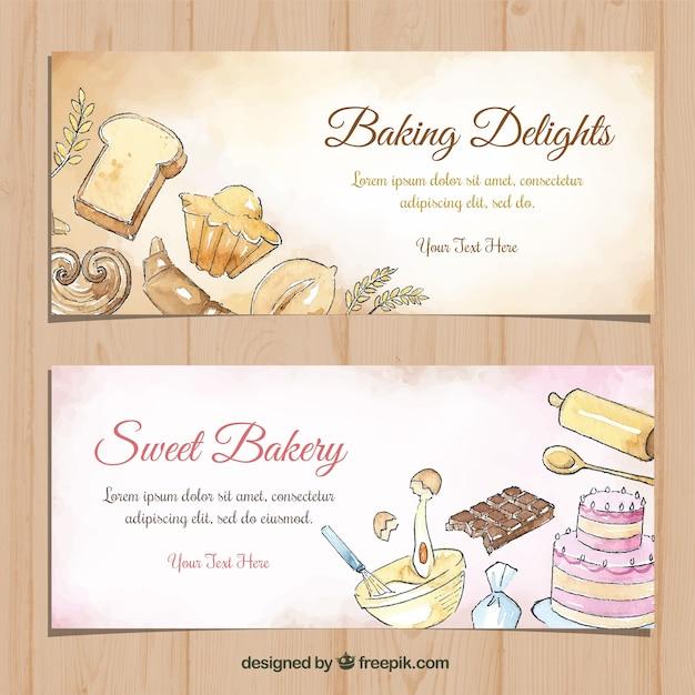 Bannières de boulangerie dans un style aquarelle Vecteur gratuit