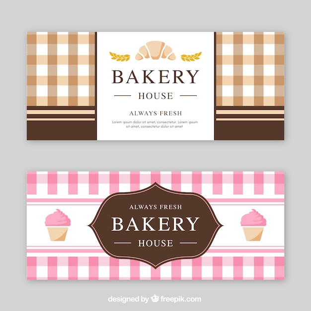 Bannières De Boulangerie Dans Le Style Plat Vecteur gratuit