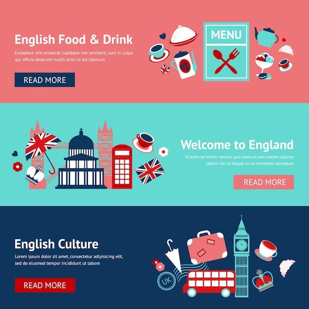 Bannières britanniques avec des objets traditionnels Vecteur gratuit