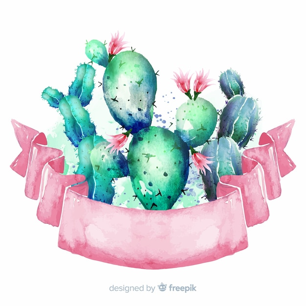 Bannières de cactus aquarelle avec bannière vierge Vecteur gratuit