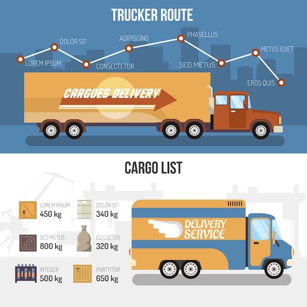 Bannières de camions de livraison Vecteur gratuit