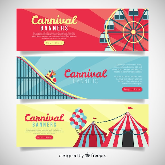 Bannières De Carnaval Plat Vecteur gratuit