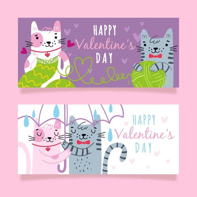 Bannières De Chat Couple Saint Valentin Vecteur gratuit