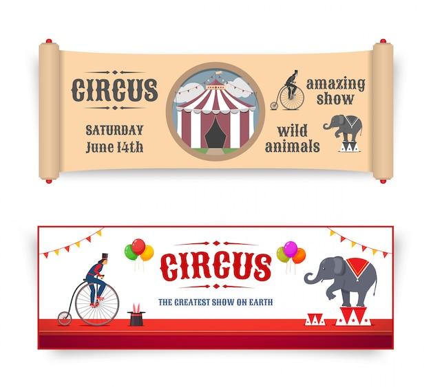 Bannières De Cirque Avec Des Illustrations Dans Un Style Rétro Et Plat. Vecteur Vecteur Premium