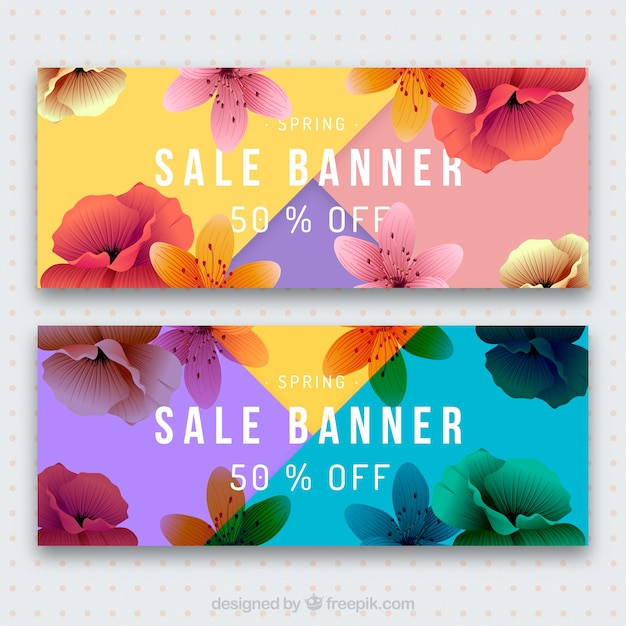 Bannières colorées détaillées de vente de printemps Vecteur gratuit