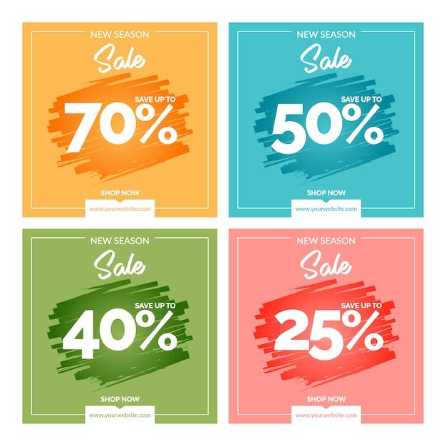Bannières colorées modernes de vente Vecteur Premium