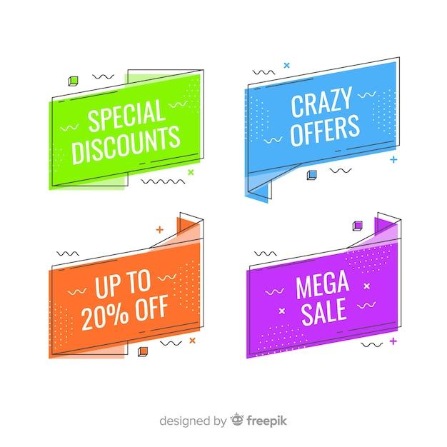 Bannières colorées de vente de memphis Vecteur gratuit