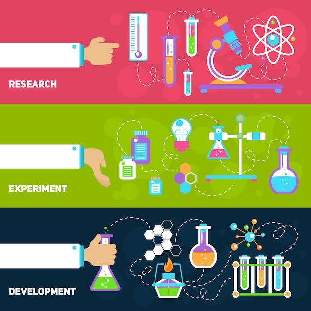 Bannières de conception de chimie avec composition d'éléments Vecteur gratuit