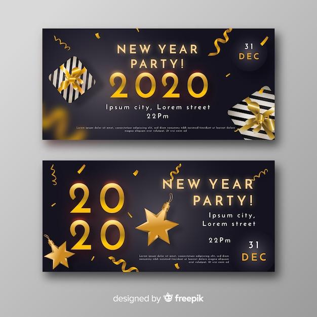 Bannières et confettis réalistes du nouvel an 2020 Vecteur gratuit