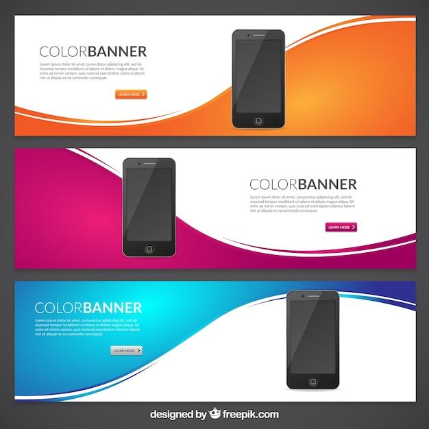 Bannières de couleurs avec des téléphones mobiles Vecteur gratuit