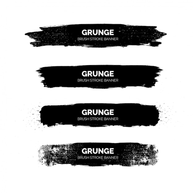 Bannières De Coups De Pinceau Grunge Noir Vecteur gratuit