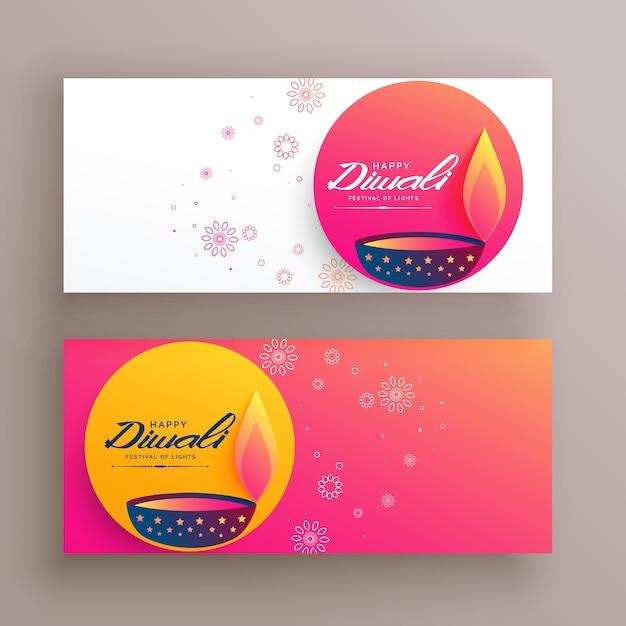 bannières créatives de festival de diwali avec diya et éléments décoratifs Vecteur gratuit