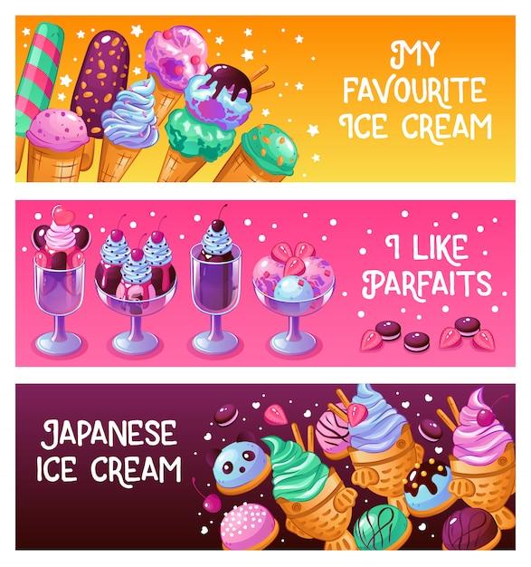 Bannières De Crème Glacée Vecteur gratuit