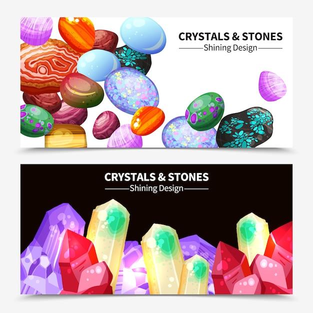Bannières en cristal et pierres Vecteur gratuit