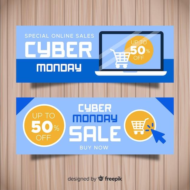 Bannières de cyber lundi coloré avec design plat Vecteur gratuit