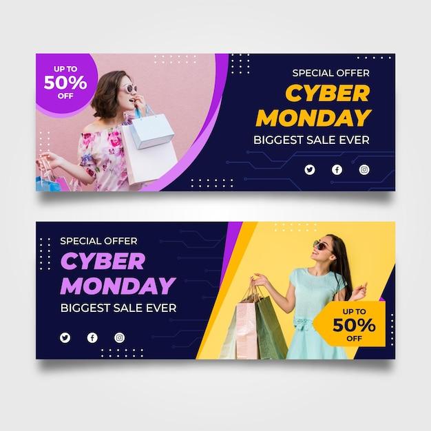 Bannières Cyber Monday Avec Photo Au Design Plat Vecteur gratuit