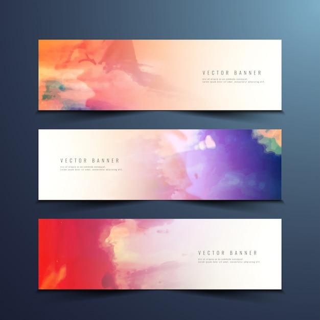 Bannières d'aquarelle abstraites et colorées Vecteur gratuit