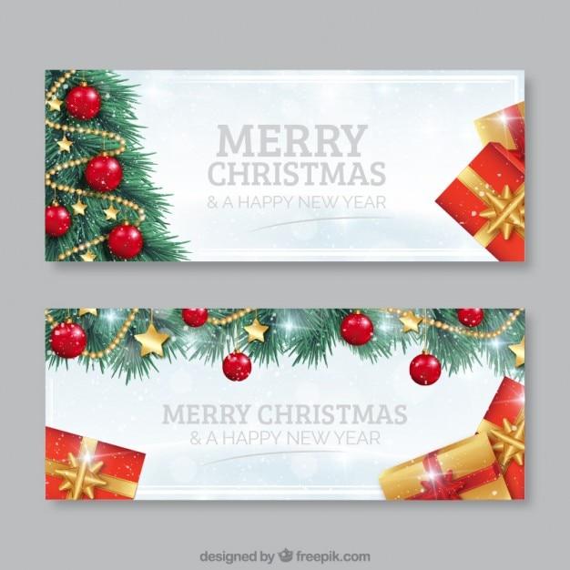 Bannières d'arbres de Noël Vecteur Premium