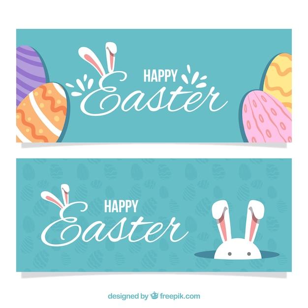 bannières de jour de Pâques dans la conception vintage Vecteur gratuit
