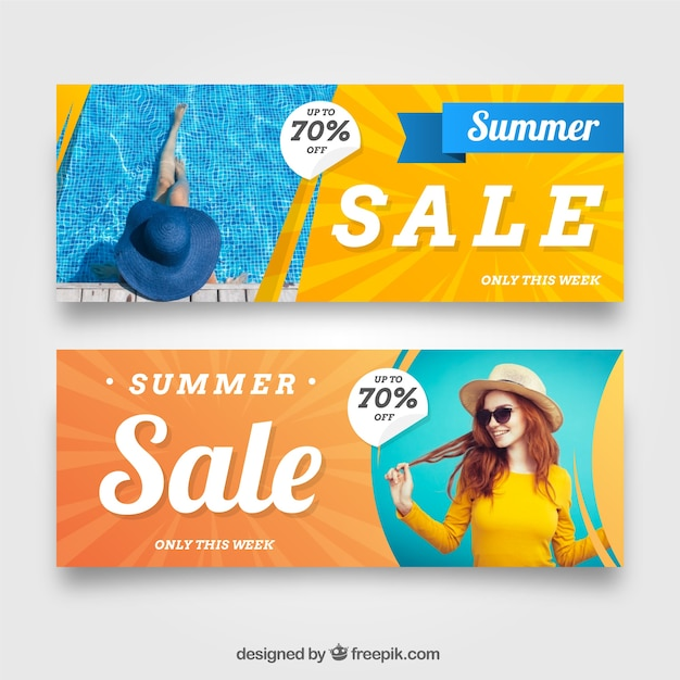 Bannières de vente d'été avec l'image de la femme Vecteur gratuit
