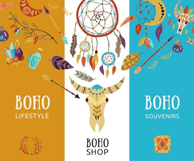 Bannières Décoratives Boho Souvenir Lifestyle Vecteur gratuit