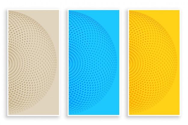 Bannières de demi-teintes circulaires de trois couleurs Vecteur gratuit