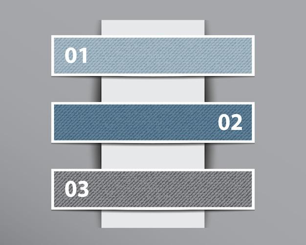 Bannières En Denim Infographiques Sur Une Couche De Papier Verticale. Vecteur Premium