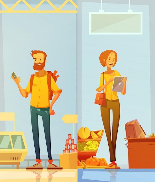 Bannières de dessin animé heureux Vecteur gratuit