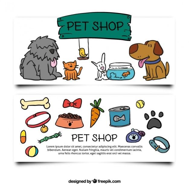 Bannières dessinées à la main avec des accessoires et des animaux de compagnie Vecteur gratuit