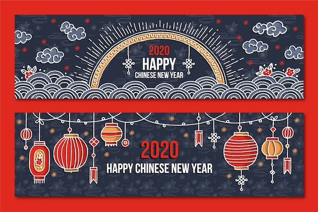 Bannières dessinées à la main du nouvel an chinois Vecteur gratuit