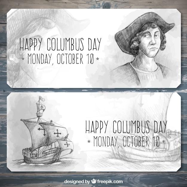 Bannières dessinées à la main pour célébrer le jour de columbus Vecteur gratuit