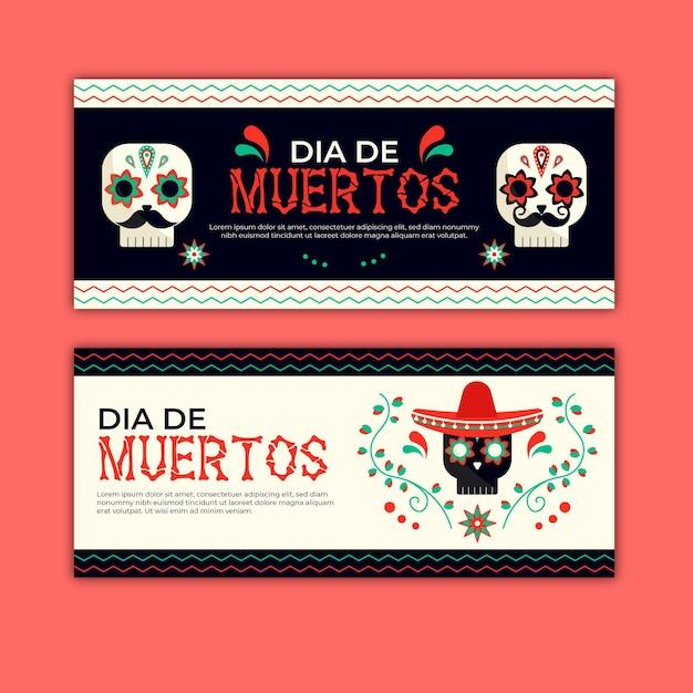 Bannières Día De Muertos Au Design Plat Vecteur gratuit