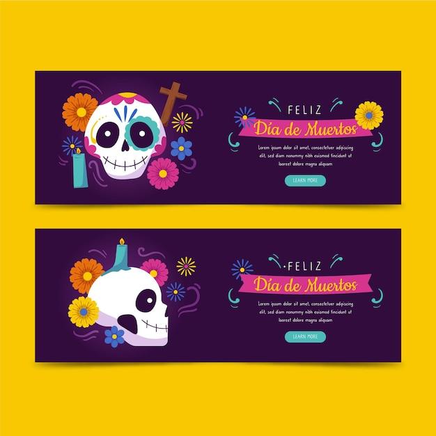 Bannières De Día De Muertos Dessinées à La Main Vecteur gratuit