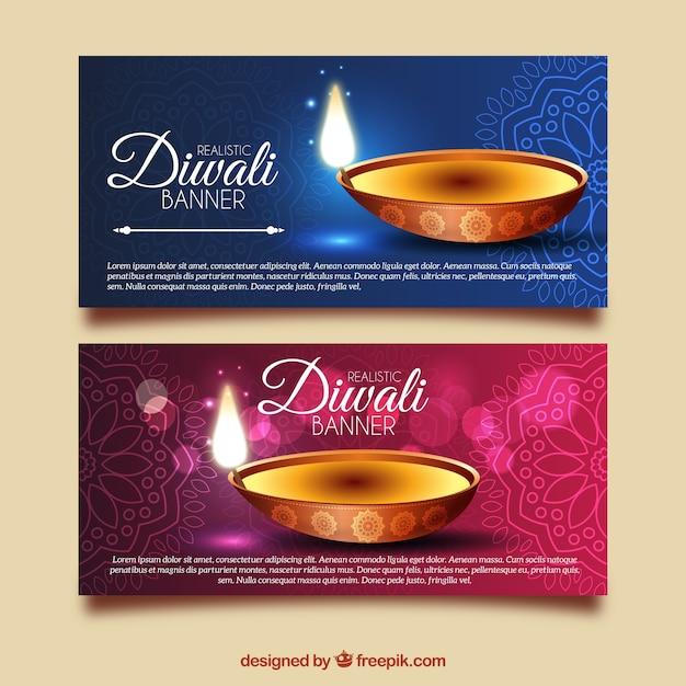 Bannières diwali ornementales et lumineuses Vecteur gratuit