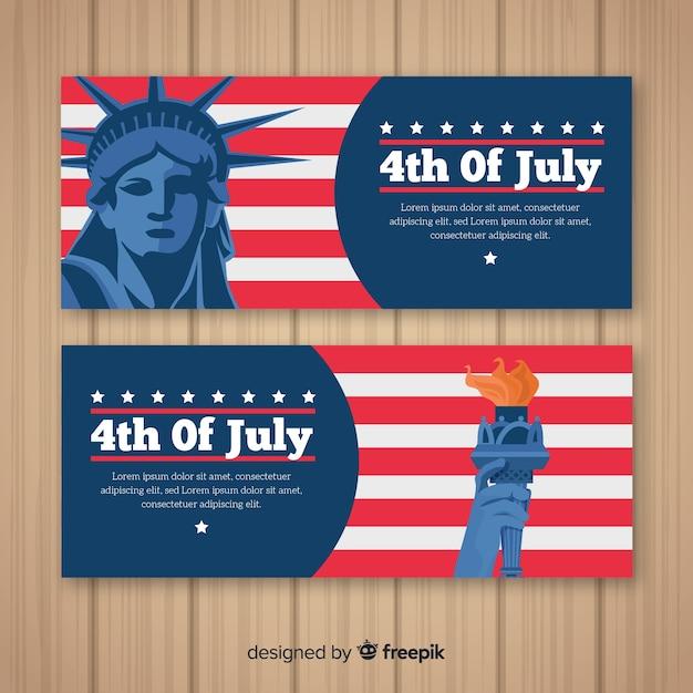Bannières du 4 juillet Vecteur gratuit