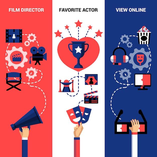 Bannières du festival de cinéma vertical Vecteur gratuit