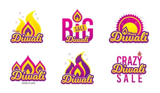 Bannières du festival de diwali Vecteur Premium