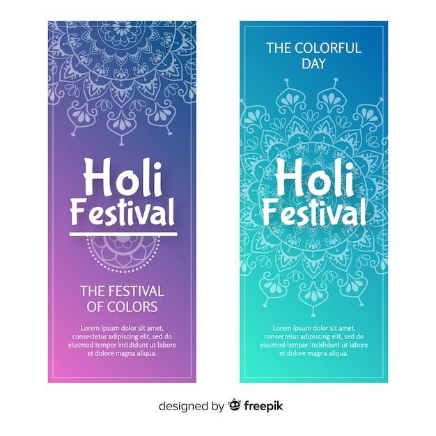 Bannières du festival holi dessinés à la main Vecteur gratuit