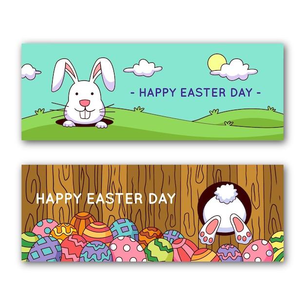 Bannières Du Jour De Pâques Avec Lapin Et Oeufs Vecteur gratuit