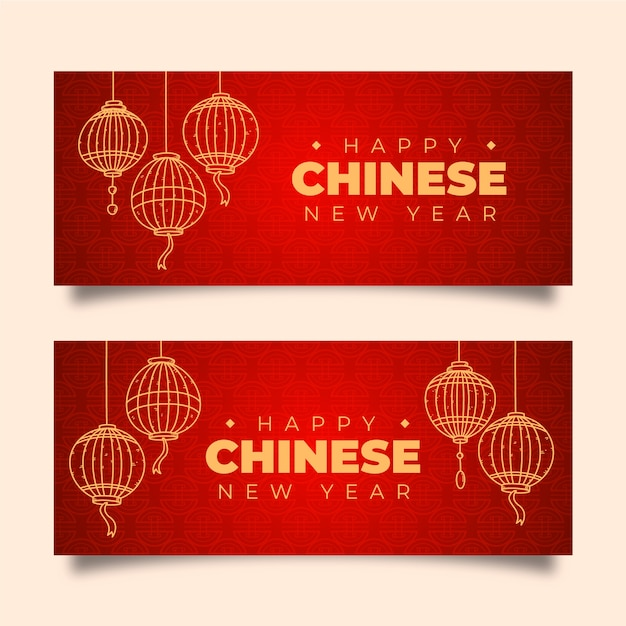 Bannières du nouvel an chinois dessinés à la main Vecteur gratuit