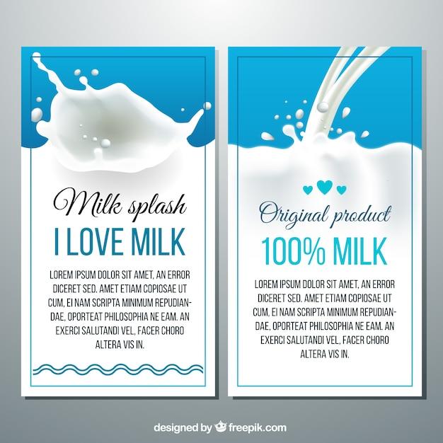 Bannières des éclaboussures de lait dans un style réaliste Vecteur gratuit