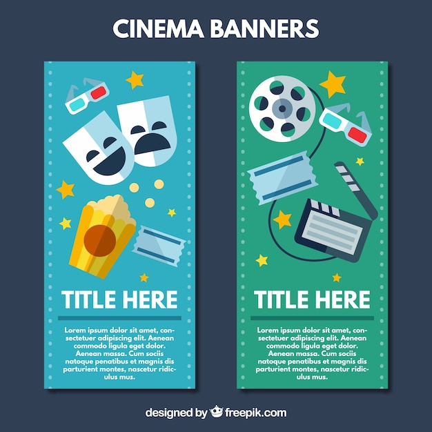 Bannières avec des éléments du cinéma Vecteur gratuit