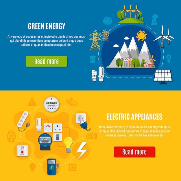 Bannières d'énergie verte et d'appareils électriques Vecteur gratuit