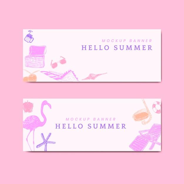 Bannières d'été tropical Vecteur gratuit