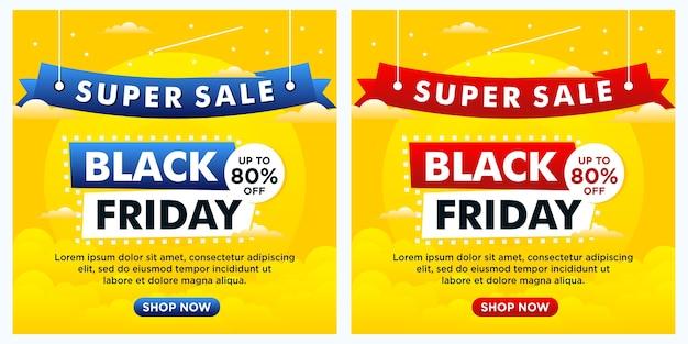 Bannières D'événement Black Friday, Publication Sur Les Réseaux Sociaux Et Modèle De Couleur Jaune Vecteur Premium