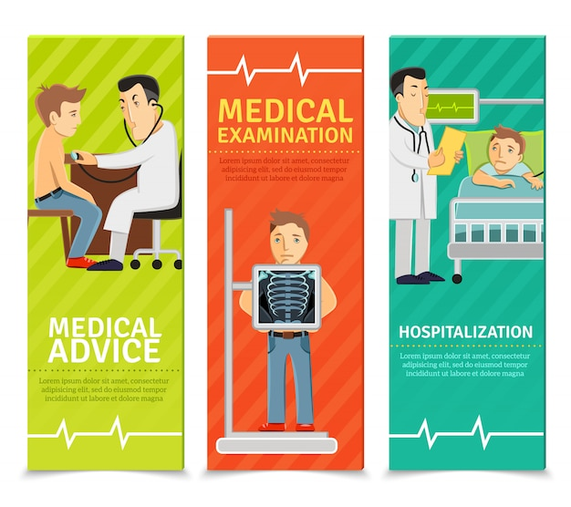 Bannières d'examen médical Vecteur gratuit