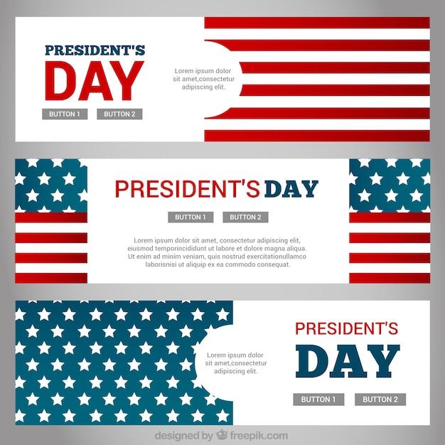 Bannières Fantastiques Avec Les Etats Unis Drapeau Pour Le Jour Du Président Vecteur gratuit