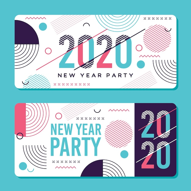 Bannières de fête abstraite nouvel an 2020 Vecteur gratuit